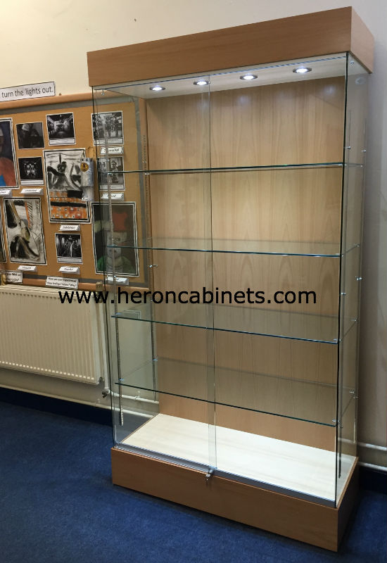 Glass and wooden display cabinet in in Beech with glass