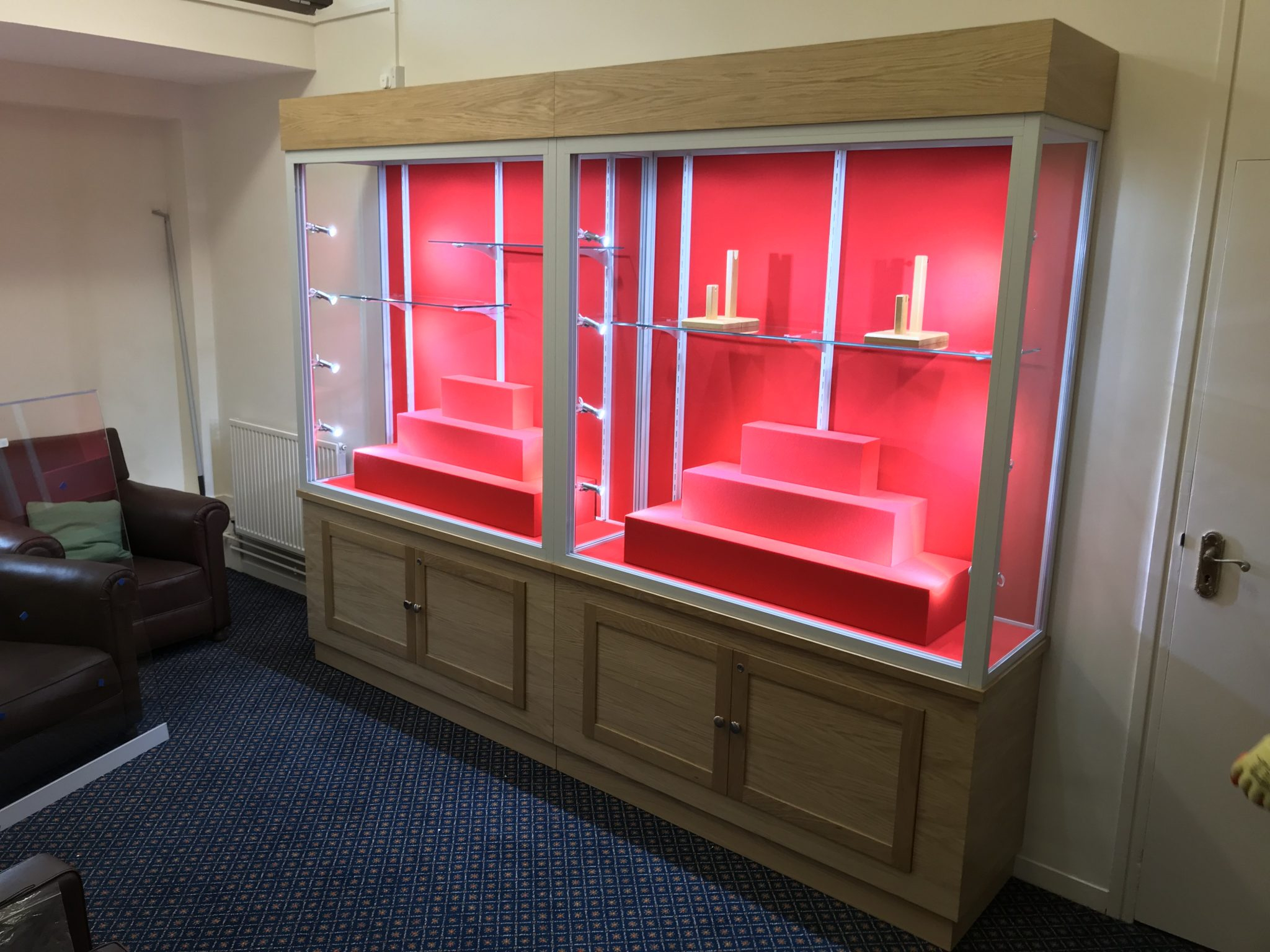 military collector sword glass display cabinet with wood and aluminium frame