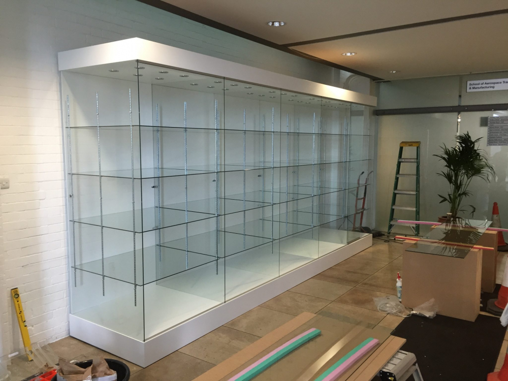 University Glass display trophy cabinet in white