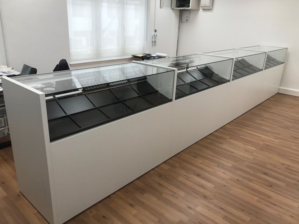 Glass display counter for jewellery store, jewellery counter
