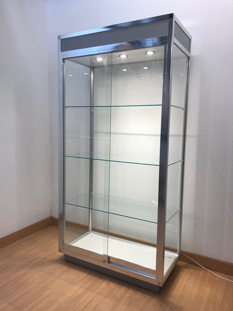 Aluminium trophy display cabinet with chrome finish and LED lighting